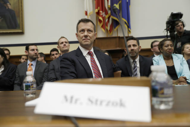 FBI Deputy Assistant Director Peter Strzok at the House Judiciary Committee hearing. (Photo: Evan Vucci/AP)