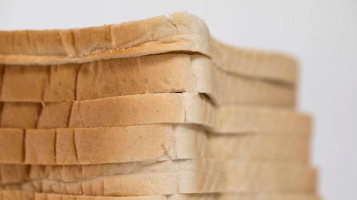 Stack of pre-sliced white bread
