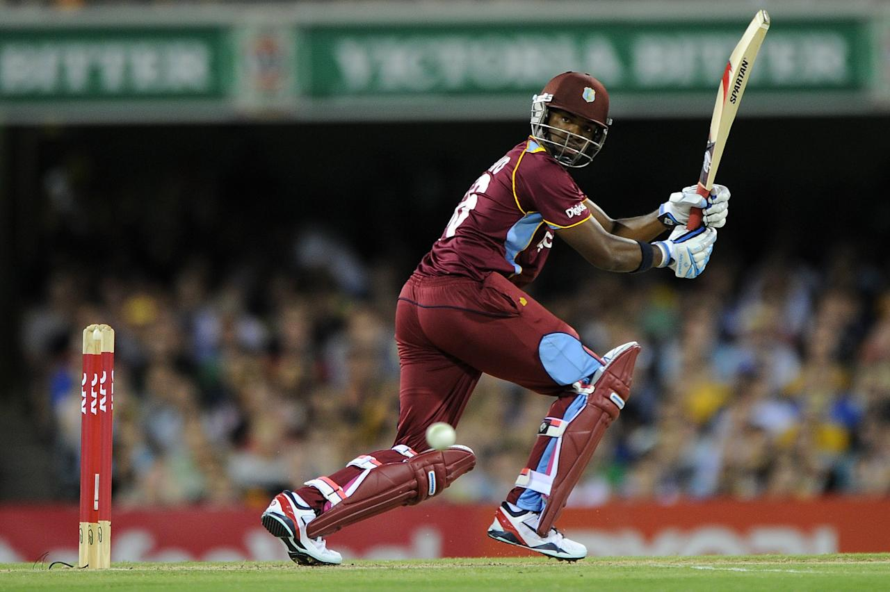 BRISBANE, AUSTRALIA - FEBRUARY 13:  Darren Bravo of the West Indies bats during the International Twenty20 match between Australia and the West Indies at The Gabba on February 13, 2013 in Brisbane, Australia.  (Photo by Matt Roberts/Getty Images)