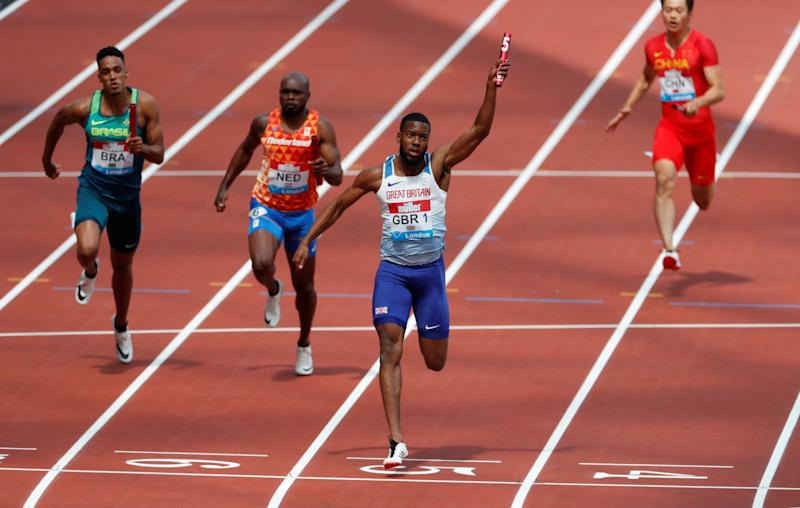Britain's Nethaneel Mitchell-Blake celebrates winning the Men's 4x100m Relay. (Action Images via Reuters)