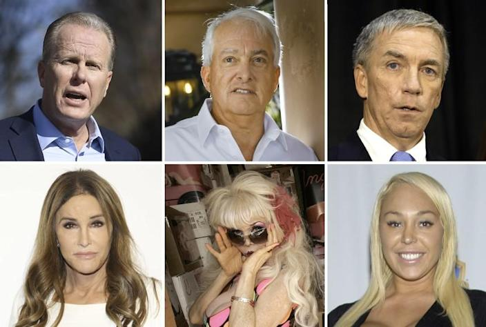 A mosaic of potential candidates that might run if the effort to oust Gov. Gavin Newsom succeeds. They are clockwise from top left; former San Diego mayor Kevin Faulconer; businessman John Cox; former Rep. Doug Ose; retired adult movie actress Mary Carey; billboard model Angelyne; and Caitlyn Jenner.