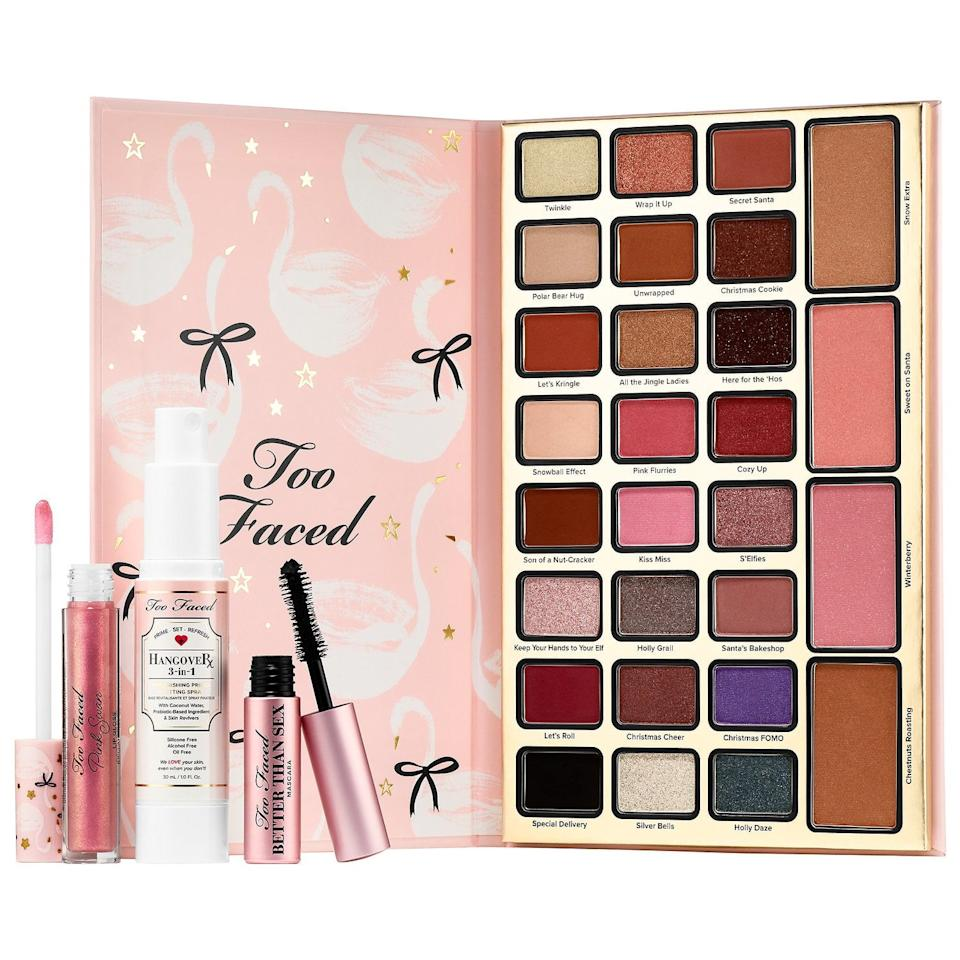 "<p>The Too Faced Drama Queen Collection is proof that high-end makeup is occasionally affordable. This five-piece set includes every product you would need to create a full face look for well under $100.<br /><strong><a rel=""nofollow"" href=""https://www.sephora.com/ca/en/product/dream-queen-limited-edition-make-up-collection-P435851?icid2=products%20grid:p435851:product"">SHOP IT: Sephora, $72</a></strong> </p>"
