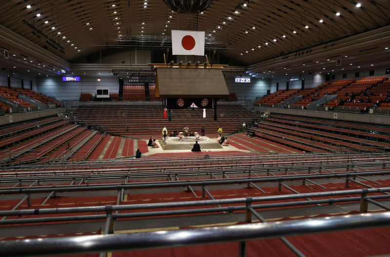 Spectator's seats are seen empty during a match of the Spring Grand Sumo Tournament which is taking behind closed doors amid the spread of the new coronavirus, in Osaka, western Japan