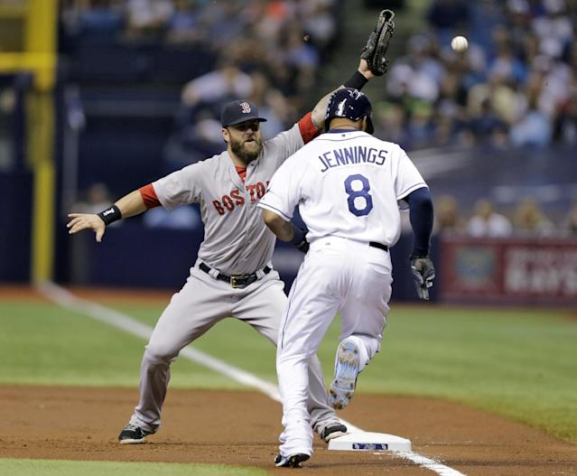 Boston Red Sox first baseman Mike Napoli can't hang on to a wild throw from catcher Christian Vazquez on a bunt by Tampa Bay Rays' Desmond Jennings during the first inning of a baseball game Saturday, July 26, 2014, in St. Petersburg, Fla. Jennins made it all the way to third. Vazquez was charged with an error. (AP Photo/Chris O'Meara)