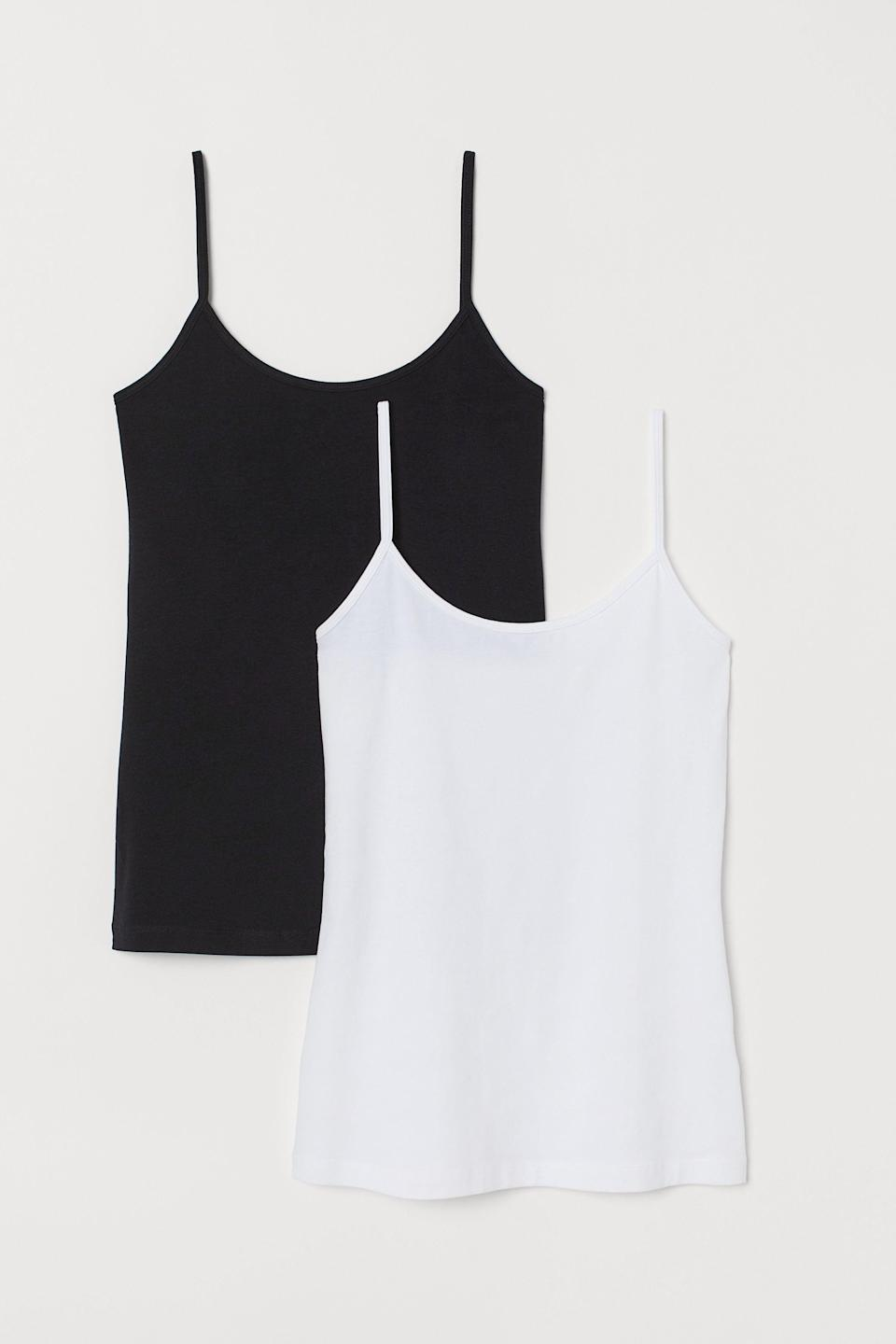 """<br><br><strong>H&M</strong> 2-pack Jersey Tank Tops, $, available at <a href=""""https://go.skimresources.com/?id=30283X879131&url=https%3A%2F%2Fwww2.hm.com%2Fen_us%2Fproductpage.0736870005.html"""" rel=""""nofollow noopener"""" target=""""_blank"""" data-ylk=""""slk:H&M"""" class=""""link rapid-noclick-resp"""">H&M</a>"""