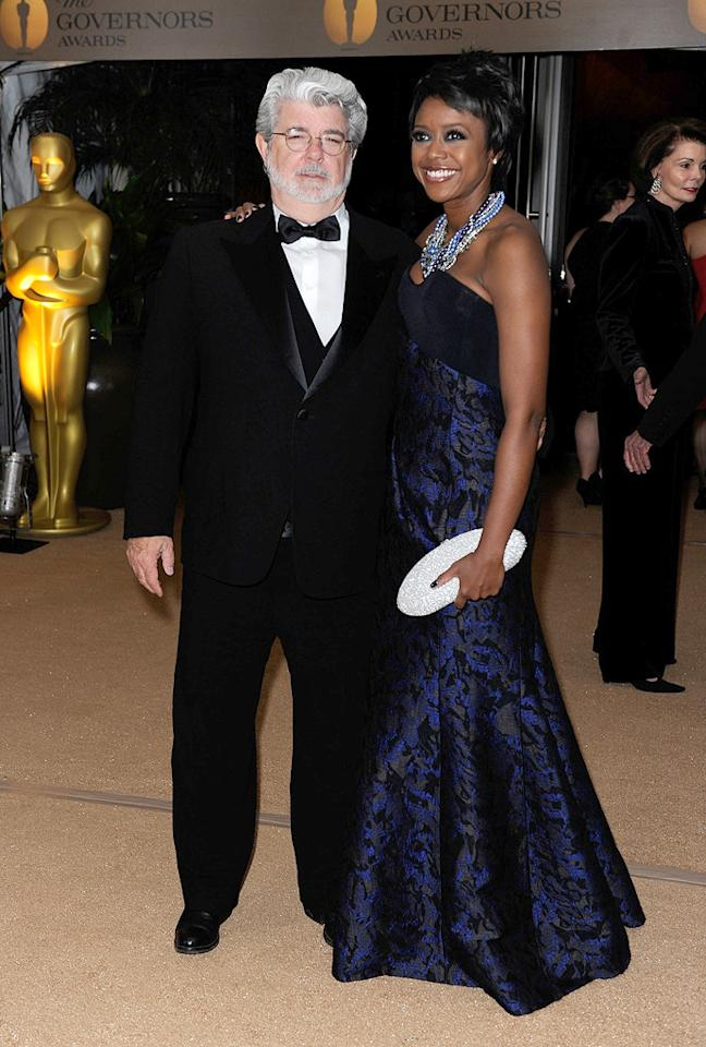 "<a href=""http://movies.yahoo.com/movie/contributor/1800017101"">George Lucas</a> and Mellody Hobson at the Academy of Motion Picture Arts and Sciences' Inaugural Governors Awards - 11/14/2009"
