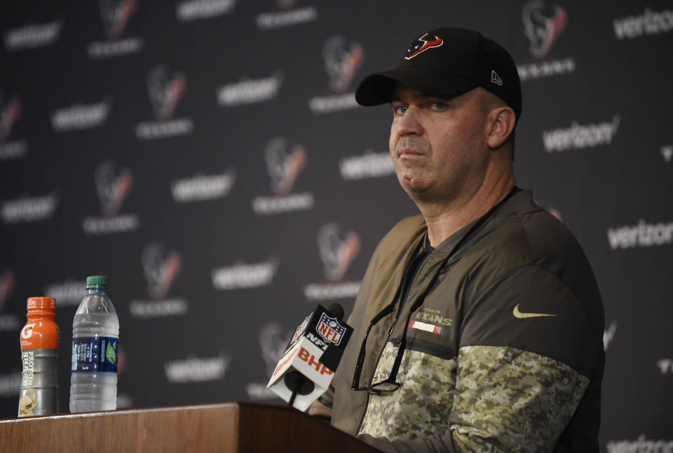 Houston Texans coach Bill O'Brien talks to the media on Sunday; on Monday, he was asked about his team signing Colin Kaepernick. (AP)