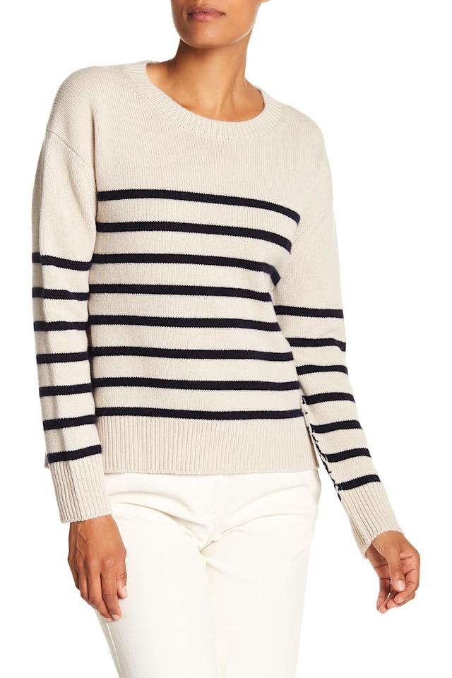 """<p>It's not everyday that you can score a Vince sweater for 72 percent off. This striped version is perfect to wear year round. You can style it up with slacks or down with jeans and still look polished. <br /><a rel=""""nofollow"""" href=""""https://fave.co/2QC30B7""""><strong>Shop it:</strong> </a>$108 (was $385), <a rel=""""nofollow"""" href=""""https://fave.co/2QC30B7"""">nordstromrack.com</a> </p>"""