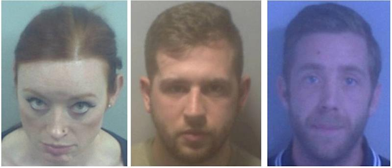 From left to right: Deirdre McTucker, Dale Lutton and Paul Carbine were jailed for fighting in a car park (Picture: SWNS)