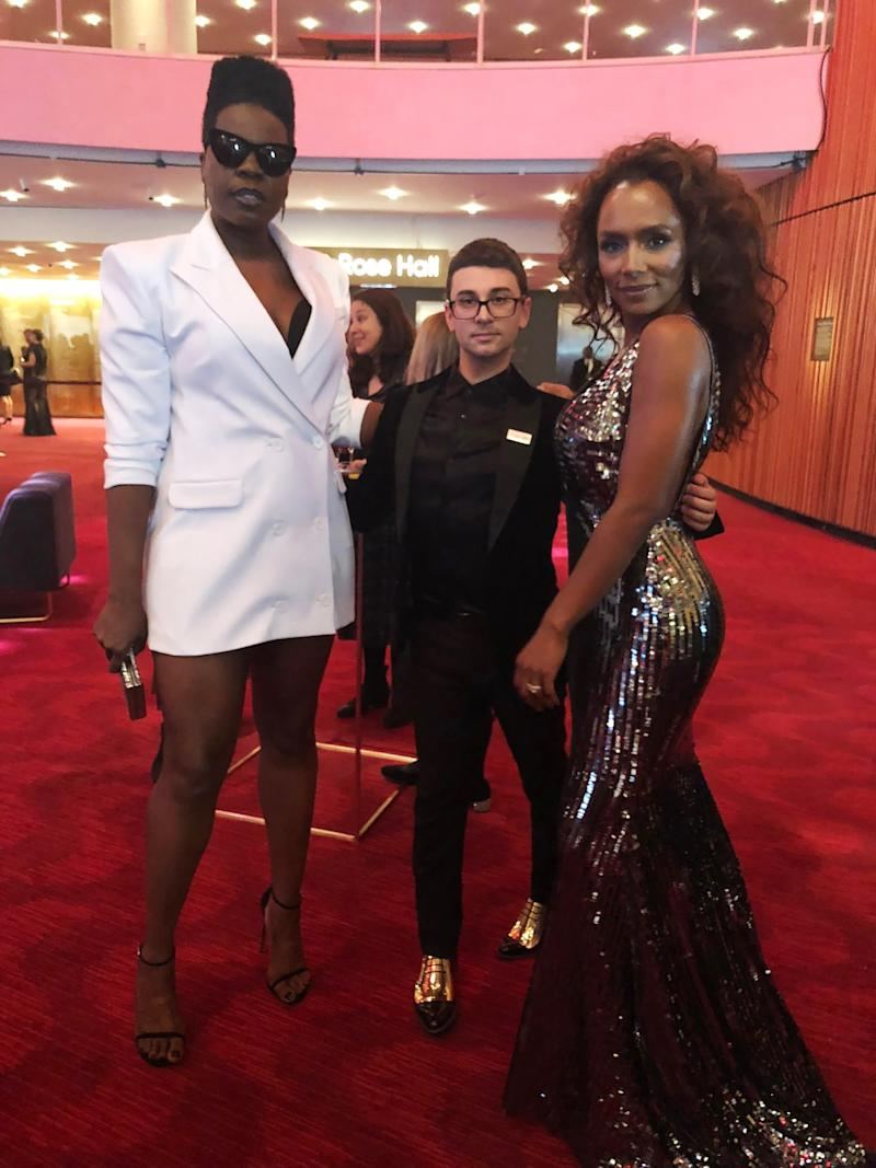 Siriano and his muses tonight. Janet Mock (also on the Time 100 list this year) was wearing Christian tonight too.