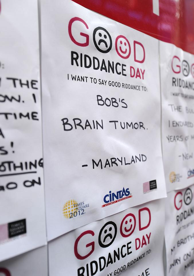 NEW YORK, NY - DECEMBER 28:  A general view of atmosphere at the 2011 Good Riddance Day at Times Square on December 28, 2011 in New York City.  (Photo by Jason Kempin/Getty Images)