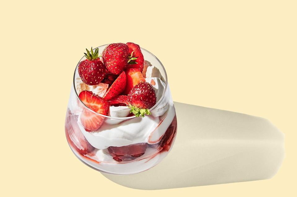 "A classic British dessert made of whipped cream, store-bought meringues, and fruit, this recipe is as easy to make as it is impressive. The meringues will soften as they sit, giving just the right amount of texture. <a href=""https://www.epicurious.com/recipes/food/views/mini-individual-strawberry-eton-mess?mbid=synd_yahoo_rss"" rel=""nofollow noopener"" target=""_blank"" data-ylk=""slk:See recipe."" class=""link rapid-noclick-resp"">See recipe.</a>"
