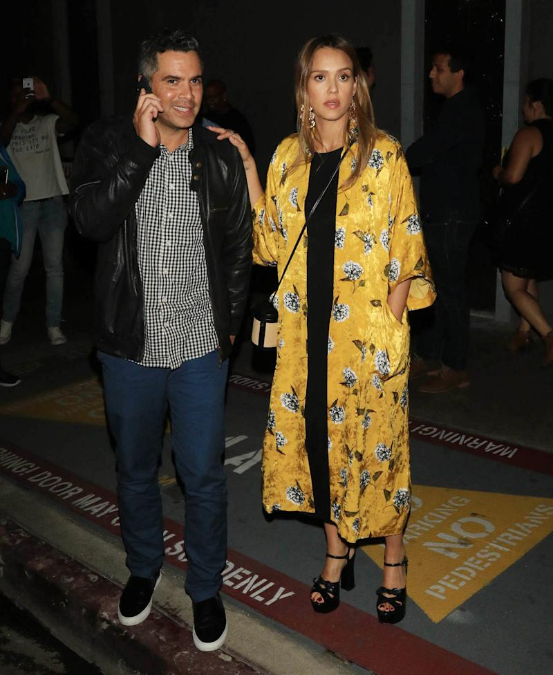 Jessica Alba and her husband, Cash Warren, in Los Angeles on Aug. 16.?? (Hollywood To You/Star Max via Getty Images)