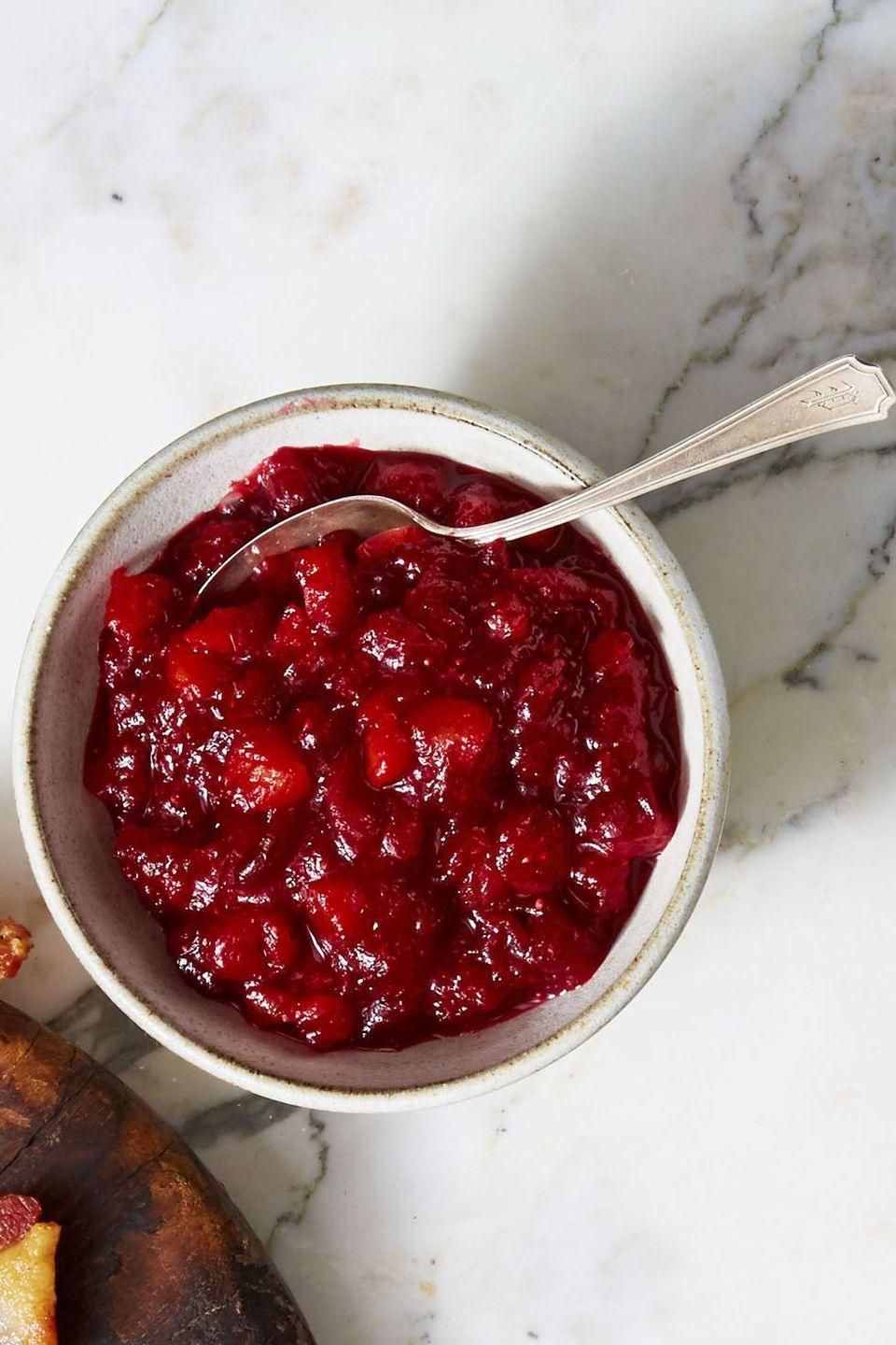 """<p>Complete your Turkey Day feast with this sweet and tangy vegan compote. Don't worry if you're stuck with leftovers, you can freeze this <a href=""""http://www.goodhousekeeping.com/holidays/thanksgiving-ideas/g112/cranberry-sauce-recipes/"""" rel=""""nofollow noopener"""" target=""""_blank"""" data-ylk=""""slk:cranberry side dish"""" class=""""link rapid-noclick-resp"""">cranberry side dish</a> for up to two months.</p><p><em><a href=""""https://www.goodhousekeeping.com/food-recipes/easy/a46615/citrusy-cranberry-apricot-compote-recipe/"""" rel=""""nofollow noopener"""" target=""""_blank"""" data-ylk=""""slk:Get the recipe for Citrusy Cranberry-Apricot Compote »"""" class=""""link rapid-noclick-resp"""">Get the recipe for Citrusy Cranberry-Apricot Compote »</a></em> </p>"""