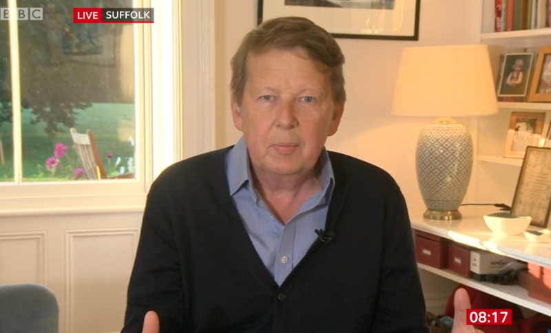 "Bill Turnbull told the BBC Breakfast presenters he felt ""cheerful and healthy""."