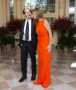 <p>Sticking with the theme of citrus shades for the the night, Samantha Power wore a '90s-era Calvin Klein-like dress in a stunning shade of orange. </p>