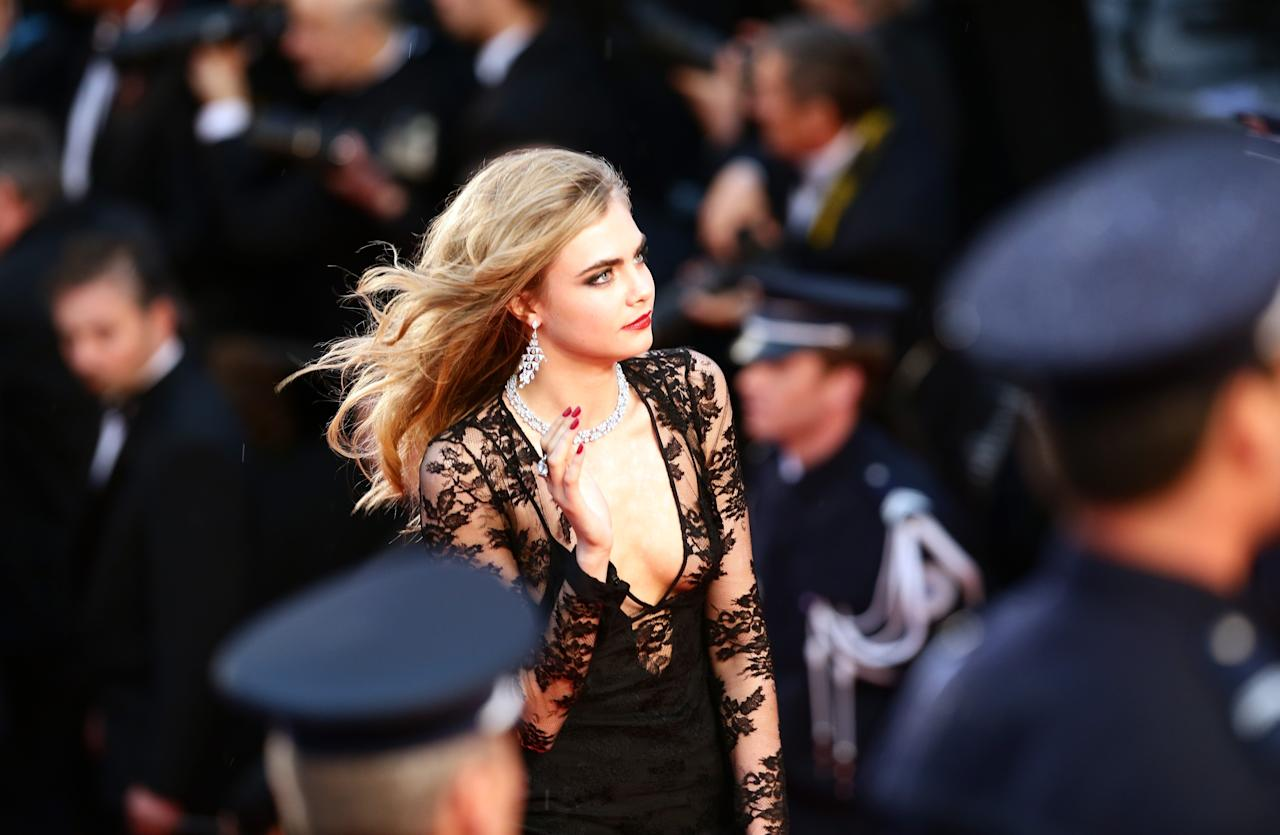 CANNES, FRANCE - MAY 15:  Cara Delevingne attends the Opening Ceremony and 'The Great Gatsby' Premiere during the 66th Annual Cannes Film Festival at the Theatre Lumiere on May 15, 2013 in Cannes, France.  (Photo by Vittorio Zunino Celotto/Getty Images)