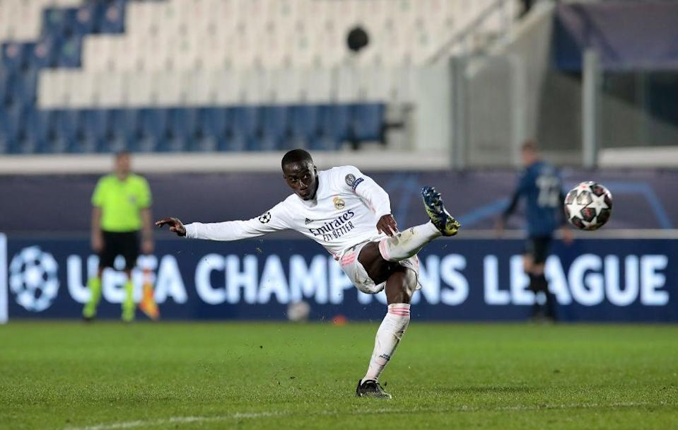 <p>Ferland Mendy of Real Madrid scores the winner for Los Blancos</p> (Getty)