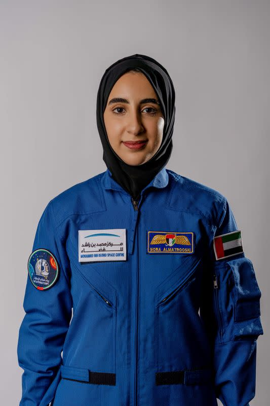 Emirati national Nora al-Matrooshi, the first Arab woman selected to train as an astronaut, poses for a photo