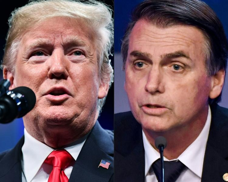"US President Donald Trump (left) stepped up to defend Brazilian counterpart Jair Bolsonaro, tweeting that he was ""doing a great job"" on the Amazon fires"