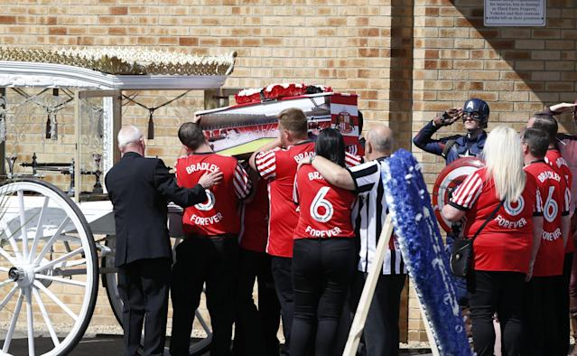 <p>The coffin of Bradley Lowery, the six-year-old football mascot whose cancer battle captured hearts around the world, arrives at St Joseph's Church for his funeral in Blackhall. </p>