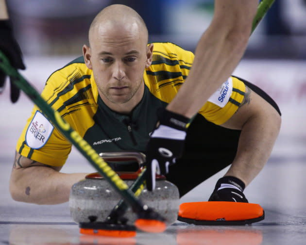Ryan Fry, seen here in a file photo from 2015, has apologized for his behaviour after his team was ejected from a Red Deer bonspiel for what organizers call unsportsmanlike behaviour resulting from public drunkenness.