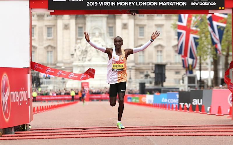 Eliud Kipchoge can defend his title in London this October - PA