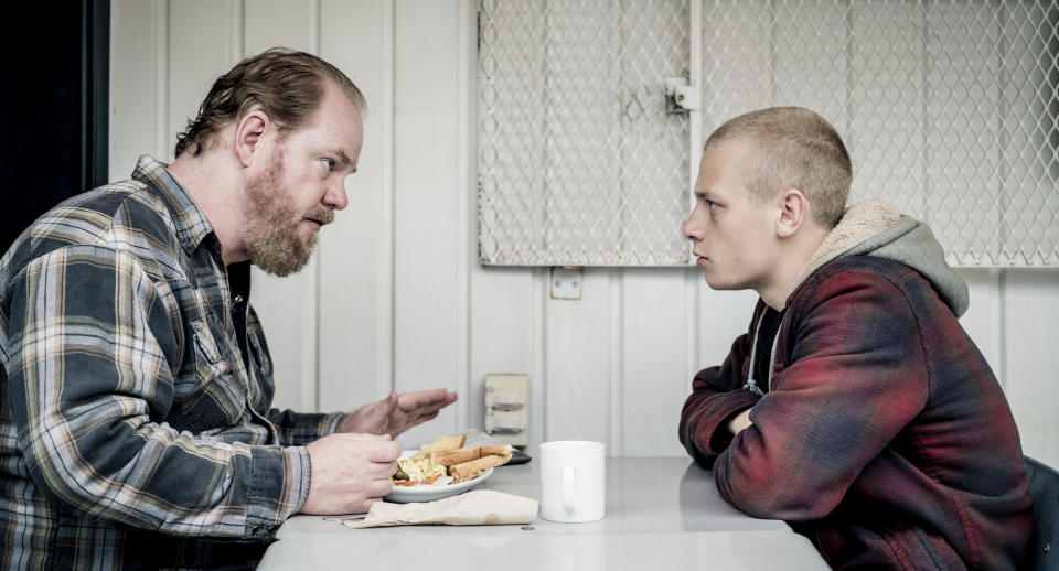 Jim Gaffigan (left) and Antoine Olivier Pilon star in Target Number One. (Laurent Guerin)