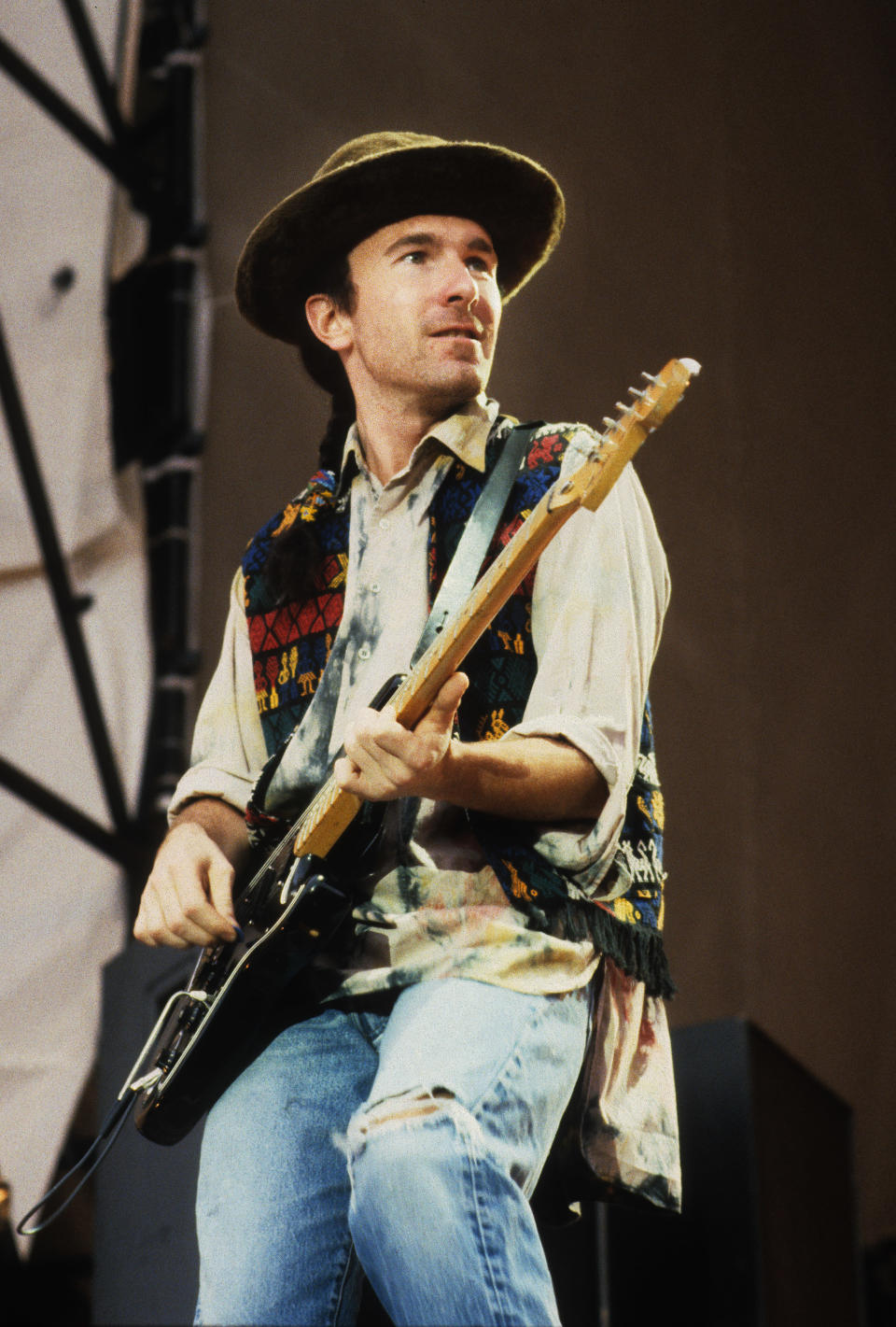 ROTTERDAM, NETHERLANDS - 11th JULY: guitarist The Edge from Irish rock band U2 performs live on stage at Feyenoord Stadion, De Kuip in Rotterdam during the Joshua Tree tour on 11th July 1987. (Photo by Rob Verhorst/Redferns)