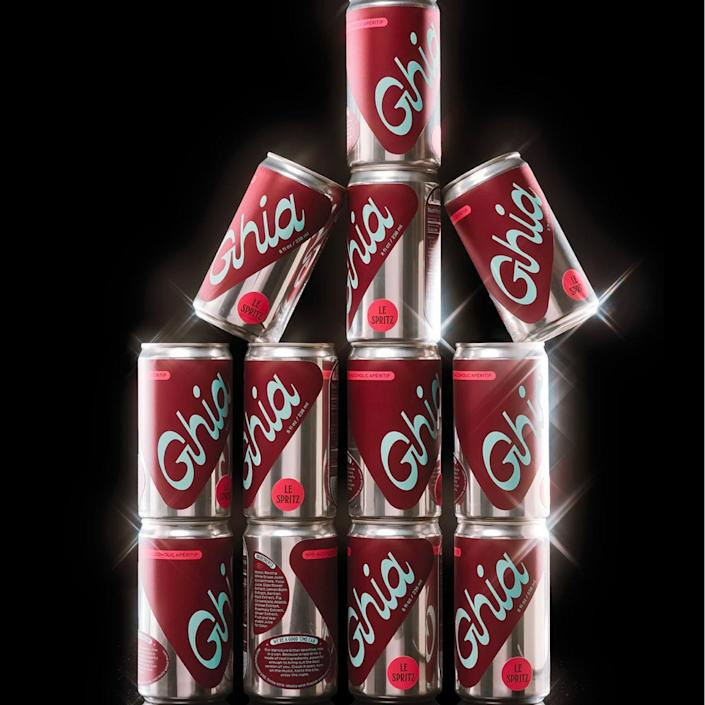 """Ghia just launched miniature soda cans of the popular Italian apéritif—with a twist. The drink is made from natural botanical extracts, sans booze or preservatives. $18, Ghia. <a href=""""https://drinkghia.com/products/le-spritz"""" rel=""""nofollow noopener"""" target=""""_blank"""" data-ylk=""""slk:Get it now!"""" class=""""link rapid-noclick-resp"""">Get it now!</a>"""