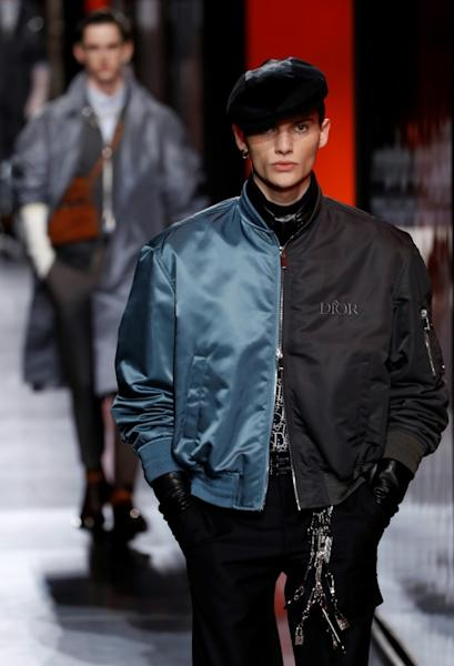 A mix and match bomber jacket at the Dior Paris show