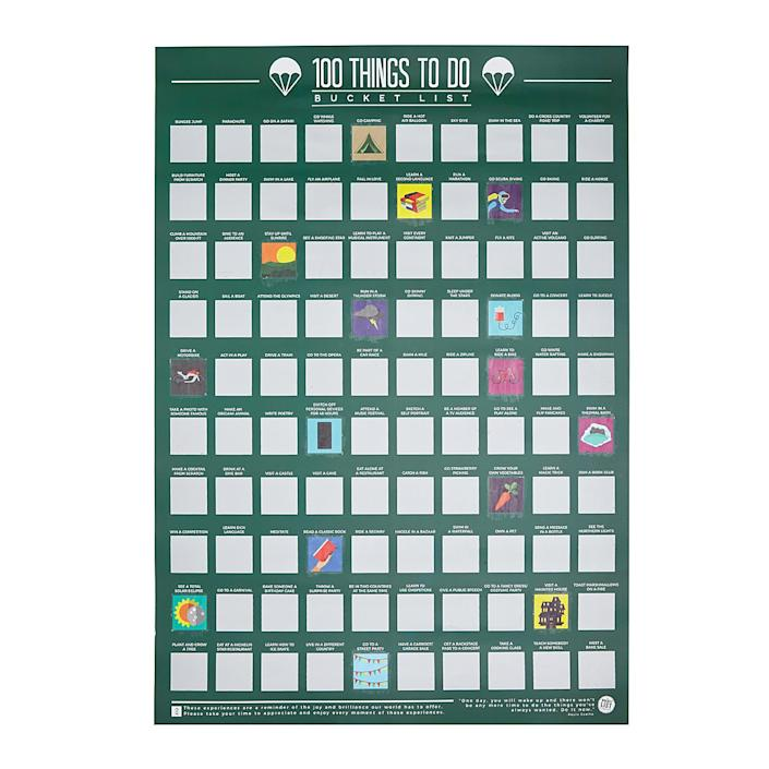 100 Things To Do Scratch Off Poster | Interactive Art; Fun Gifts for Grads