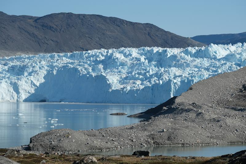 The Eqip Sermia Glacier, also called the Eqi Glacier, is seen behind a moraine left exposed by the glacier's retreat during unseasonably warm weather at Eqip Sermia, Greenland. (Photo: Sean Gallup/Getty Images)
