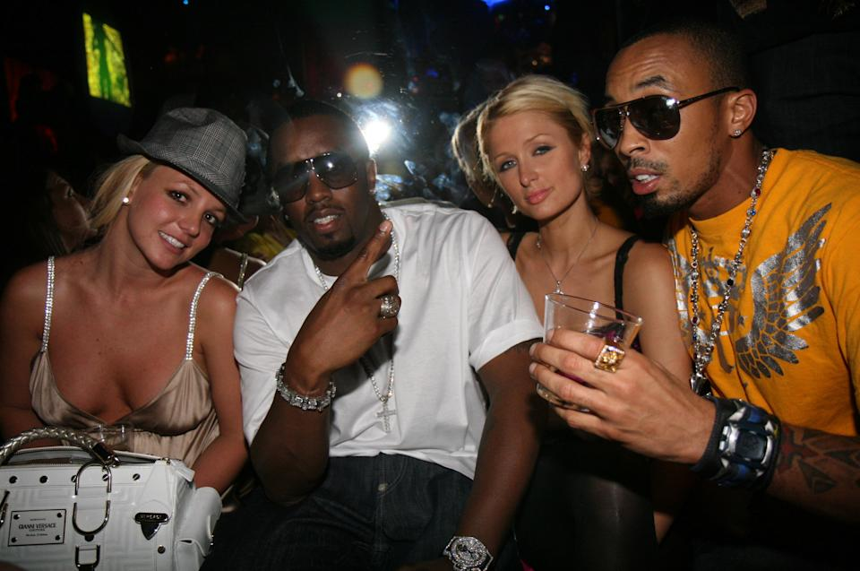 """LAS VEGAS - SEPTEMBER 08: Britney Spears, Sean """"Diddy"""" Combs, Paris Hilton and Dallas Austin attends 50 Cent Hosts Party at The Hard Rock on September 8, 2007 in Las Vegas, NV  (Photo by Johnny Nunez/WireImage)"""