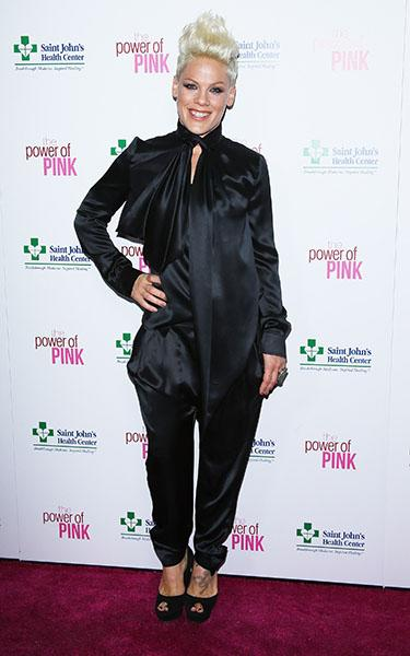 Pink arrives at St. John's Health Center's 'Power of Pink' benefiting The Margie Petersen Breast Center held at Sony Picture Studios on November 12, 2012 in Los Angeles