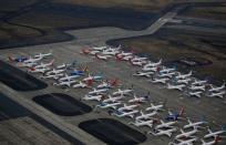 Grounded Boeing 737 MAX aircraft are seen parked at Boeing facilities at Grant County International Airport in Moses Lake