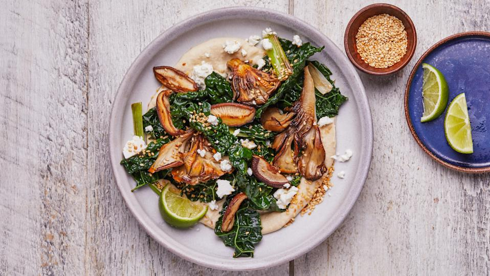 "<a href=""https://www.bonappetit.com/recipe/crispy-mushrooms-with-creamy-white-beans-and-kale?mbid=synd_yahoo_rss"" rel=""nofollow noopener"" target=""_blank"" data-ylk=""slk:See recipe."" class=""link rapid-noclick-resp"">See recipe.</a>"