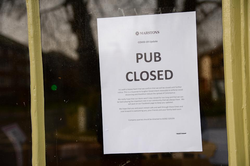 DORCHESTER, DORSET - JANUARY 15: A closed Marstons Pub sign is seen on January 15, 2021 in Dorchester, Dorset. With a surge of covid-19 cases fueled partly by a more infectious variant of the virus, British leaders have reimposed nationwide lockdown measures across England through at least mid February. (Photo by Finnbarr Webster/Getty Images)