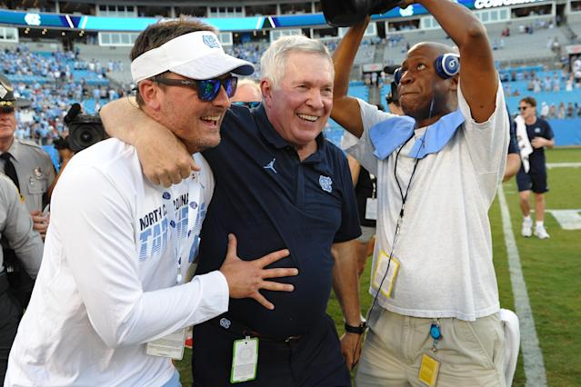 North Carolina Tar Heels head coach Mack Brown celebrates his win over South Carolina on Saturday. (Getty)