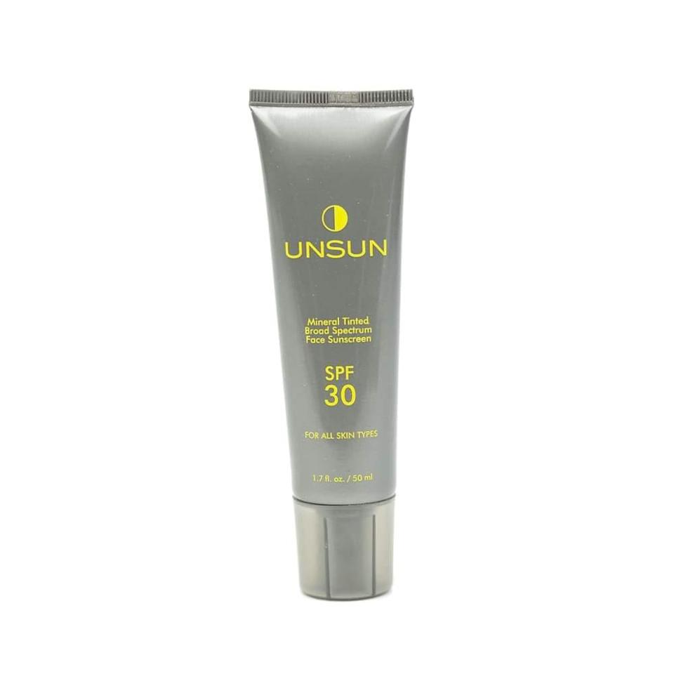 """<h3><strong>Unsun Cosmetics</strong> Mineral Tinted Broad Spectrum Face Sunscreen SPF 30</h3> <br>Some <a href=""""https://www.refinery29.com/en-us/best-zinc-oxide-sunscreen"""" rel=""""nofollow noopener"""" target=""""_blank"""" data-ylk=""""slk:mineral sunscreens"""" class=""""link rapid-noclick-resp"""">mineral sunscreens</a> refuse to sheer out on medium and deep skin tones, leaving an obvious white or gray cast of zinc oxide, even after lots of blending. Though this one's only available in two tints — fair/light and medium/dark — it's been tested across a wide range of skin tones, and rubs in totally transparent across the board.<br><br><strong>Unsun Cosmetics</strong> Mineral Tinted Broad Spectrum Face Sunscreen SPF 30, $, available at <a href=""""https://go.skimresources.com/?id=30283X879131&url=https%3A%2F%2Fcredobeauty.com%2Fproducts%2Fmineral-tinted-broad-spectrum-face-sunscreen-spf-30%3Fvariant%3D1846976512012"""" rel=""""nofollow noopener"""" target=""""_blank"""" data-ylk=""""slk:Credo"""" class=""""link rapid-noclick-resp"""">Credo</a><br>"""