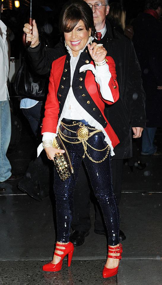"""Where to begin? The Seinfeldian puffy shirt? The swashbuckler blazer? How 'bout the sequined pants, or the below-the-belt embellishments? Needless to say, everything Paula Abdul dared to don was a mistake. Demis Maryannakis/<a href=""""http://www.splashnewsonline.com"""" target=""""new"""">Splash News</a> - December 10, 2008"""