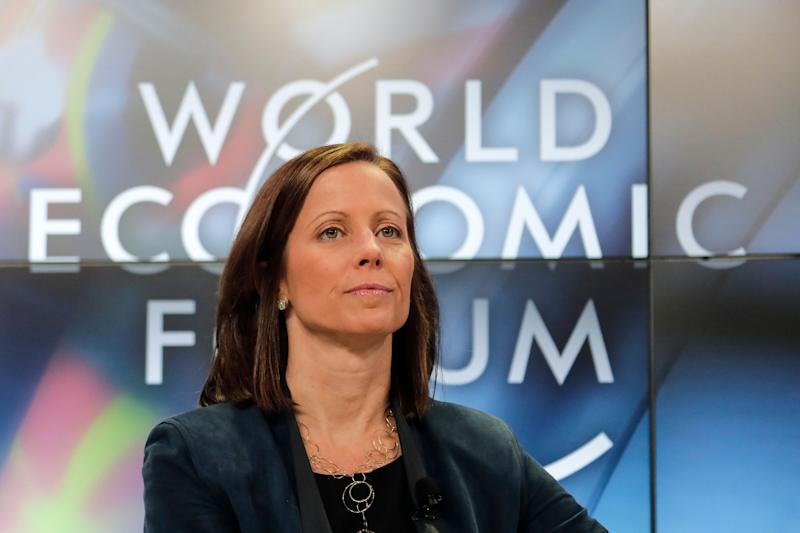 Adena Friedman, President and CEO of Nasdaq, attends a panel about Global Markets in a Fractured World during the World Economic Forum, WEF, in Davos, Switzerland, Tuesday, Jan. 23, 2018. (AP Photo/Markus Schreiber)