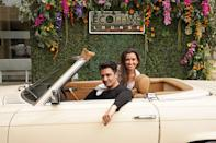 """<p>Gilles Marini and his wife Carole arrive in style at Debbie Durkin's EcoLuxe """"Drive Thru"""" Luxury Experience in celebration of Awards Season at The Beverly Hilton on Friday.</p>"""