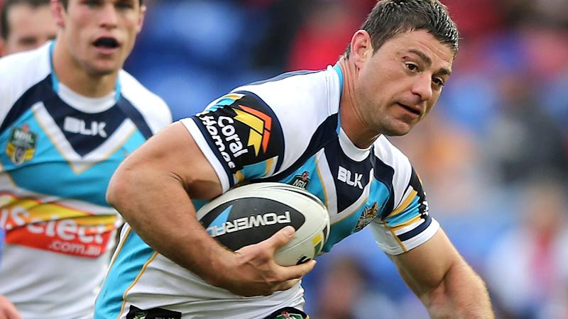 Mark Minichiello, pictured here in action for the Gold Coast Titans in 2014.