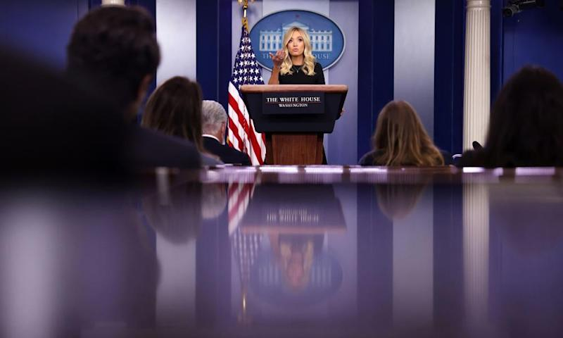 Kayleigh McEnany holds a press briefing in Washington, 26 May 2020.