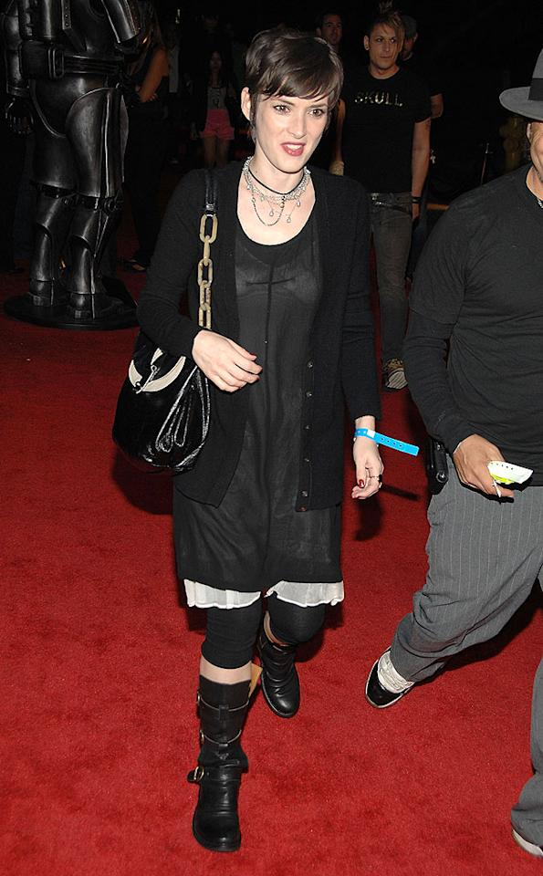"Looks like Winona Ryder has jumped on Madonna's trend of wearing granny undergarments. John Shearer/<a href=""http://www.wireimage.com"" target=""new"">WireImage.com</a> - October 16, 2008"