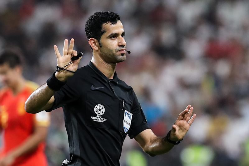ABU DHABI, UNITED ARAB EMIRATES - JANUARY 24: Referee Abdulrahman Al-Jassim in action during the AFC Asian Cup quarter final match between China and Iran at Mohammed Bin Zayed Stadium on January 24, 2019 in Abu Dhabi, United Arab Emirates. (Photo by Zhizhao Wu/Getty Images)