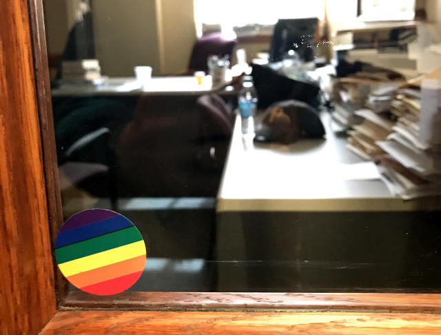 A rainbow sticker in support of LGBT students on Warren Throckmorton's office window at Grove City College. (Photo: Jon Ward/Yahoo)