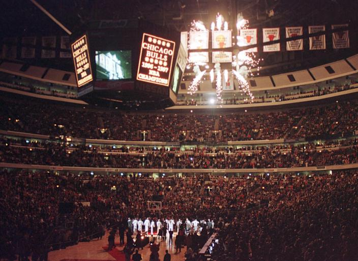 Fireworks go off in the Bulls arena.