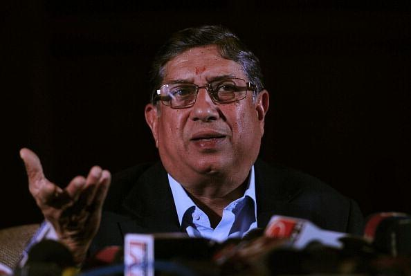 "President of the Board of Control for Cricket in India (BCCI), N. Srinivasan addresses a press conference in Kolkata on May 26, 2013. The son-in-law of India's cricket board chief was on Sunday suspended from ""any involvement"" in the sport pending an inquiry into his role in a spot-fixing scandal, officials said. AFP PHOTO (Photo credit should read STR/AFP/Getty Images)"